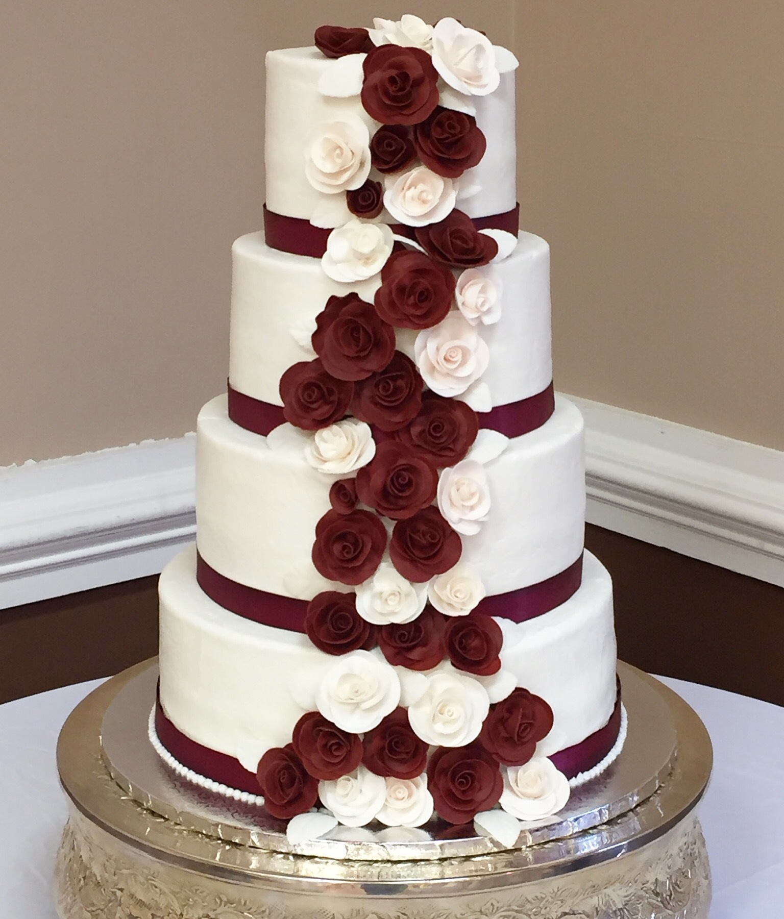 Burgandy and White cascading sugar flowers