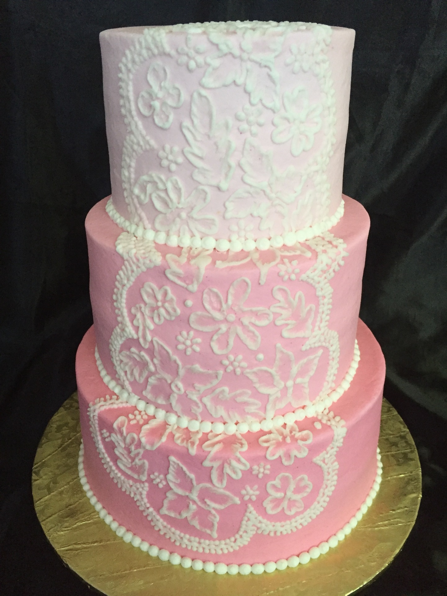Ombre pink with white embroidary