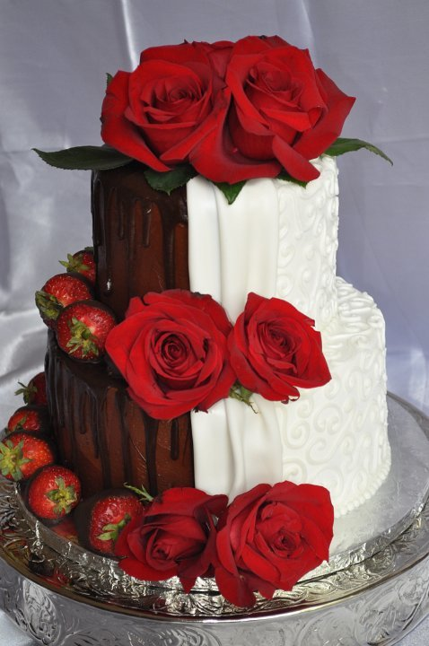 Half and half with choc strawberries and red roses