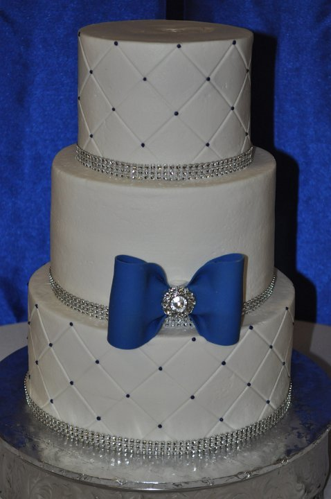 Blue bow and quilted pattern 3 tier