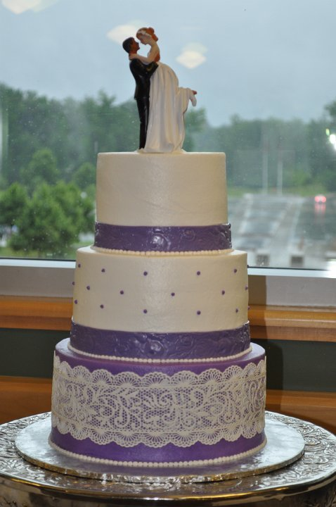 Purple and white with sugar lace and topper