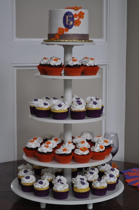 Orange and Purple cupcake tower