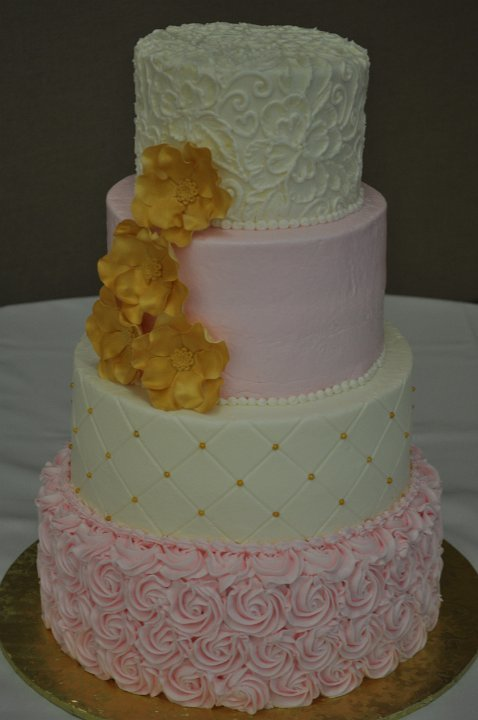 Pink rosettes with gold flowers