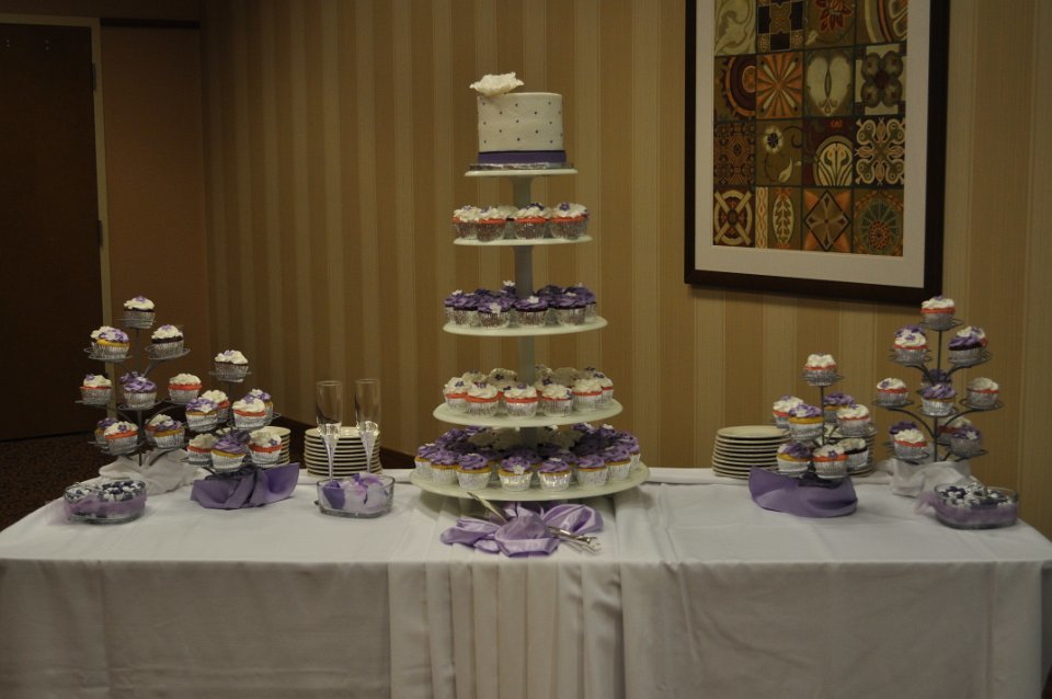 Lavender cupcake wedding set up