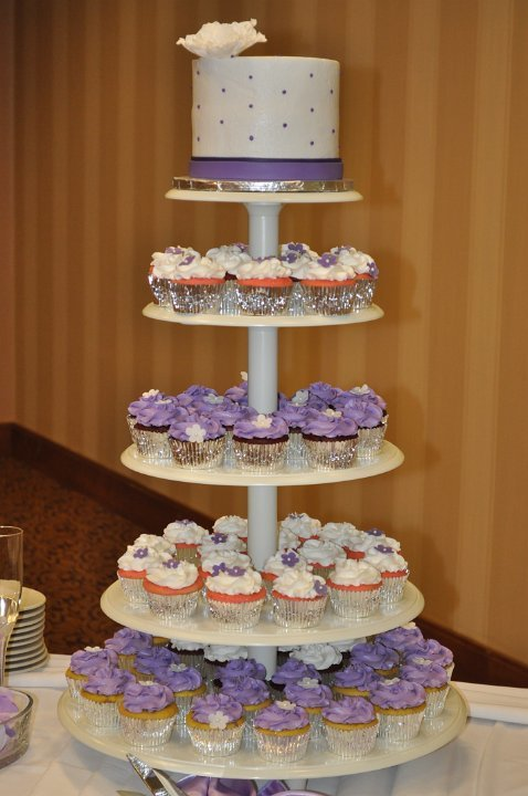 Lavender cupcake tower