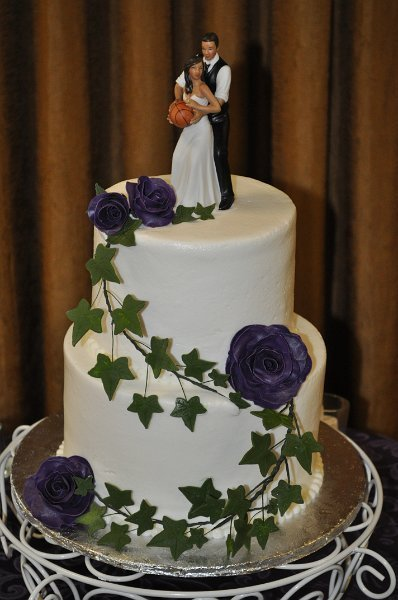 Purple sugar roses and ivy twig 2 tier