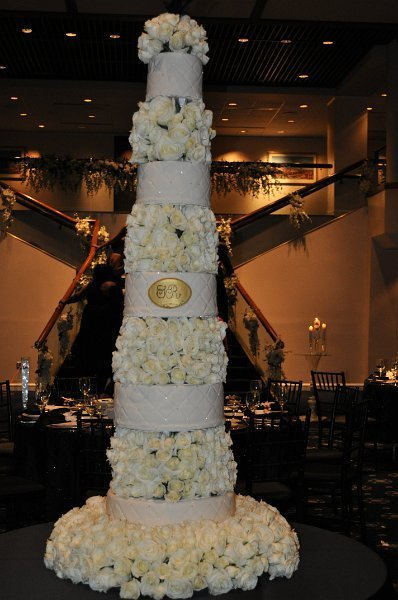 Tallest of all- Ivory fondant tiers with rose spacers