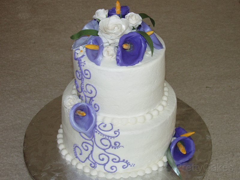 Purple calla lillies and scrolls 2 tier