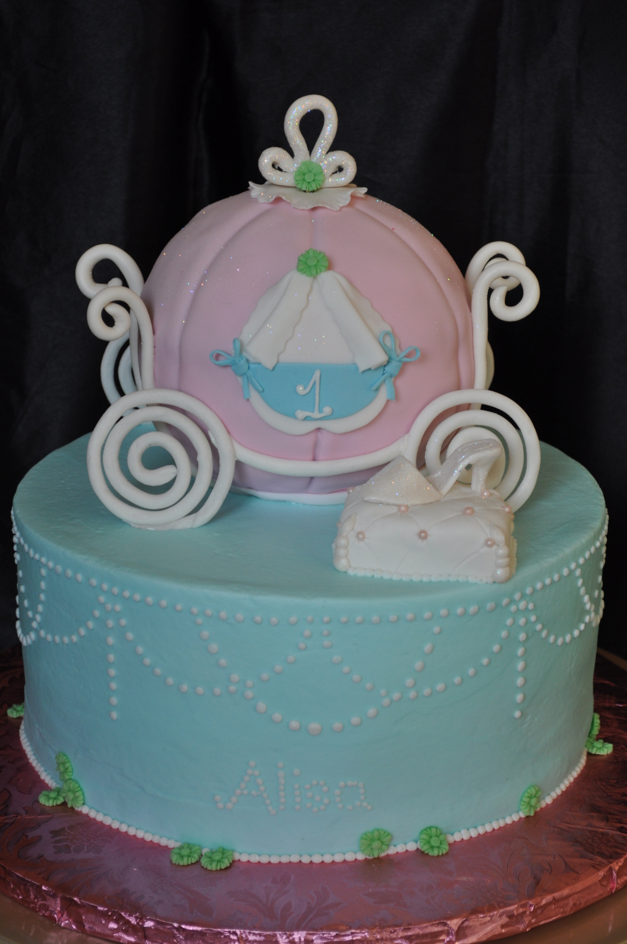 Cinderella Carriage 1st birthday cake
