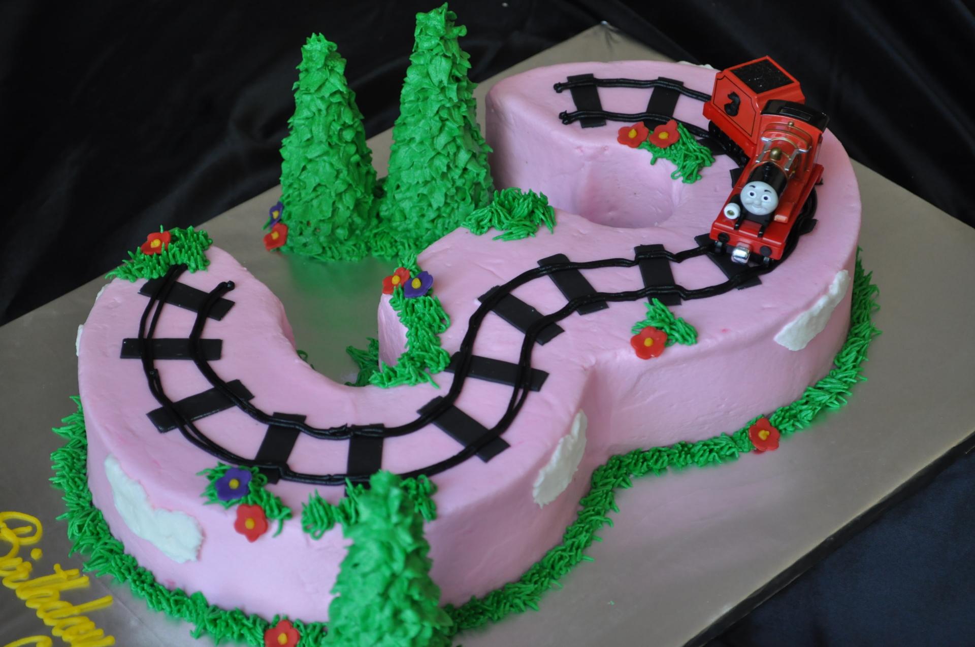 Thomas train cake ,pink number 3 cake