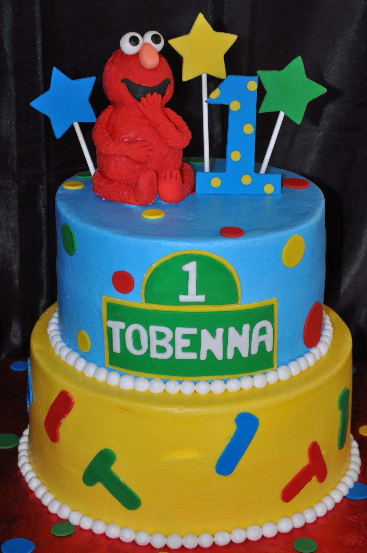 Elmo Sesame street 1st birthday cake