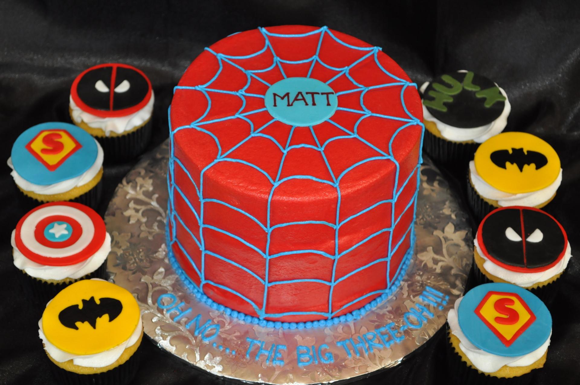 Spiderman cake, Superheroes cupcakes