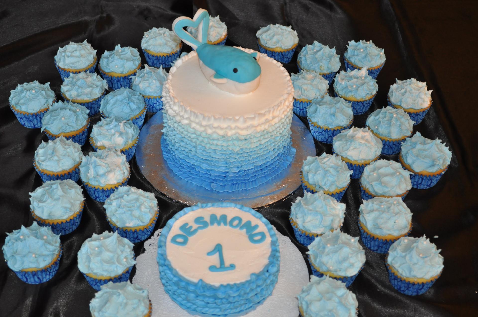 Ocean theme cake, whale birthday cake, ocean theme cupcakes, 1st birthday cake