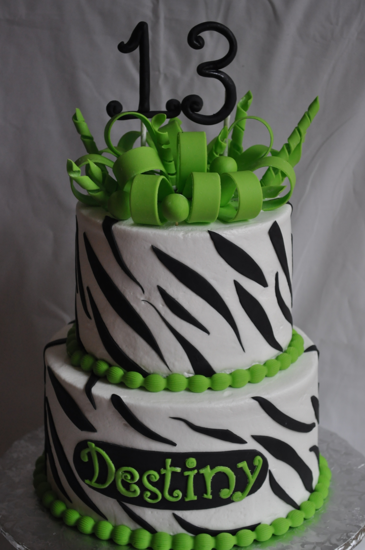 Zebra stripes cake, 13th birthday cake,bow cake