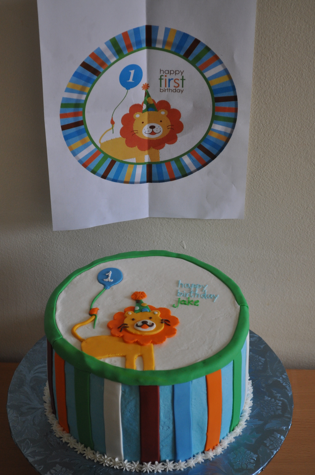 A lion birthday cake to match the invitation