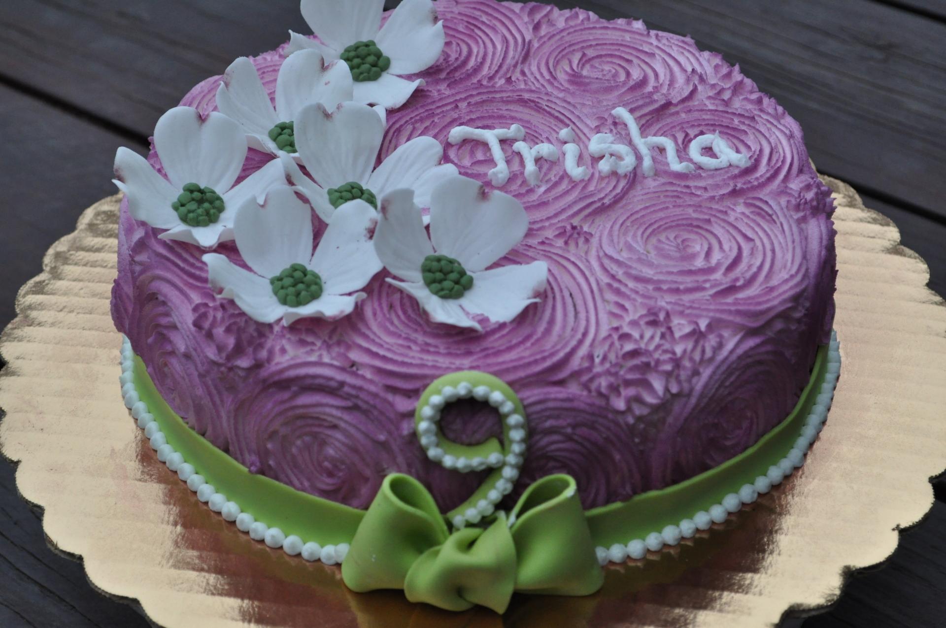 Rosettes cake, dogwood flower birthday cake
