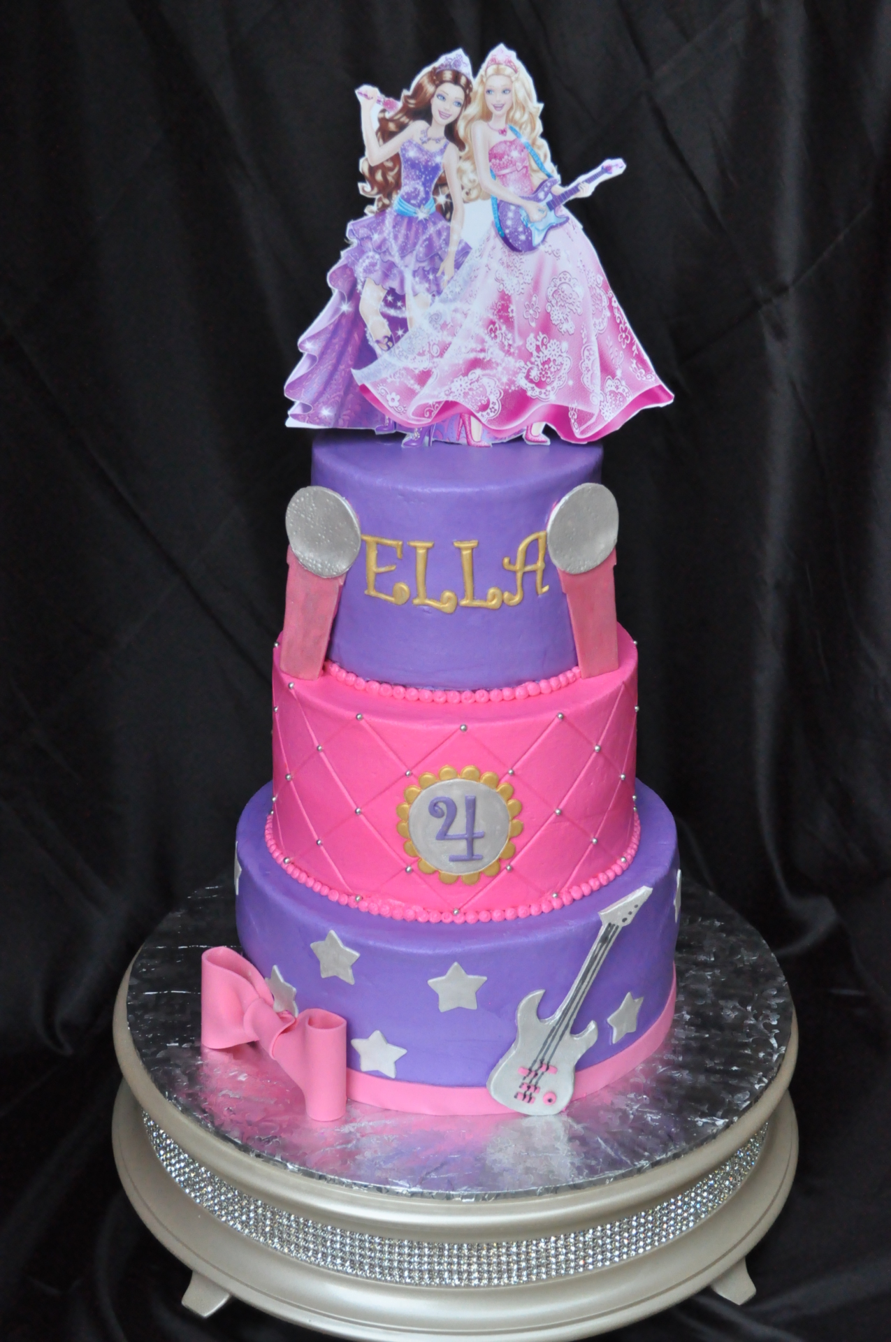 Barbie tiered cake,pink cake ,purple cake