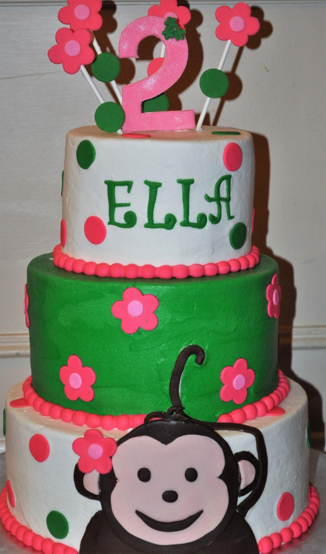 Monkey theme birthdya cake, tiered cake, 2nd birthday cake