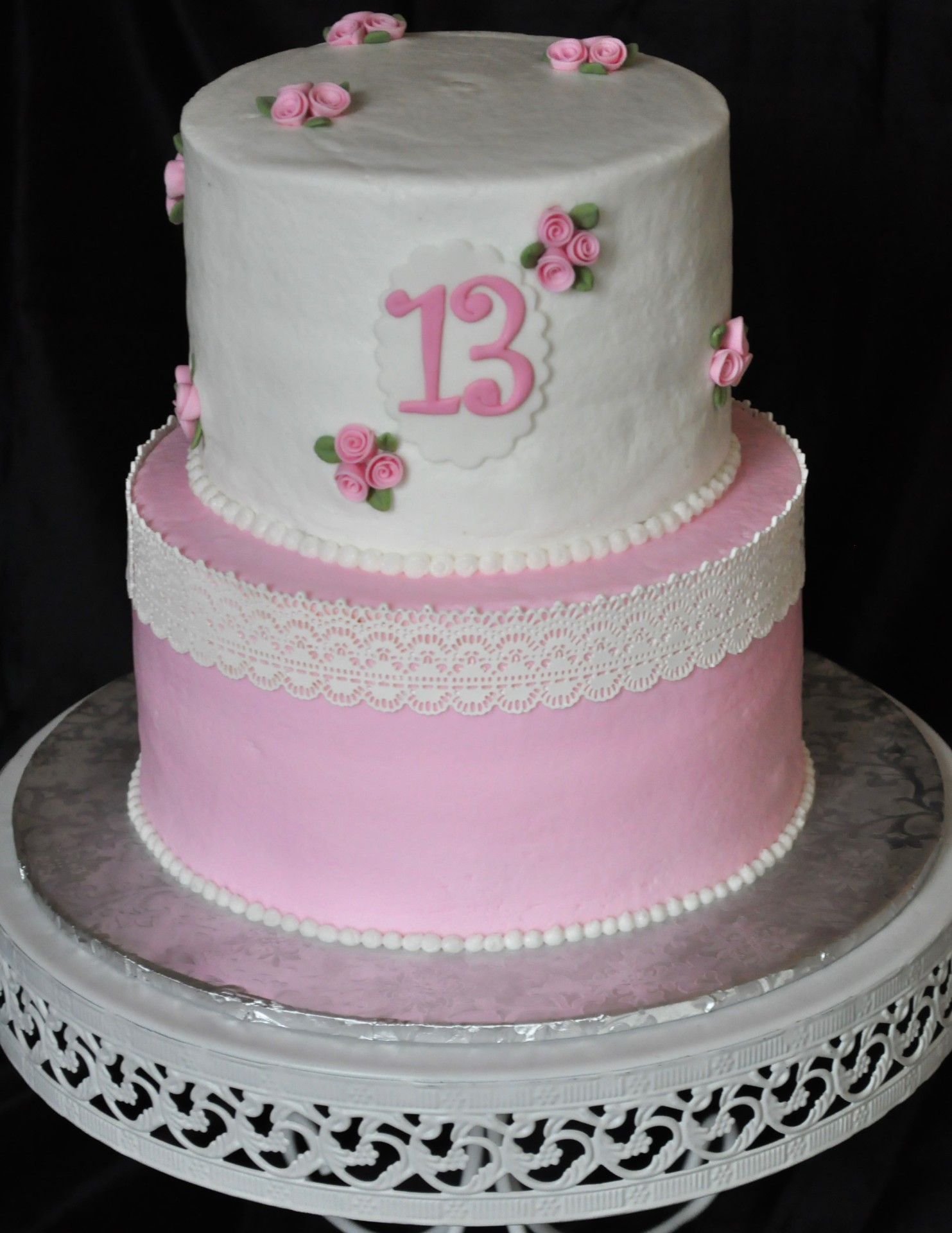 Shabby Chic cake, 13th birthday cake