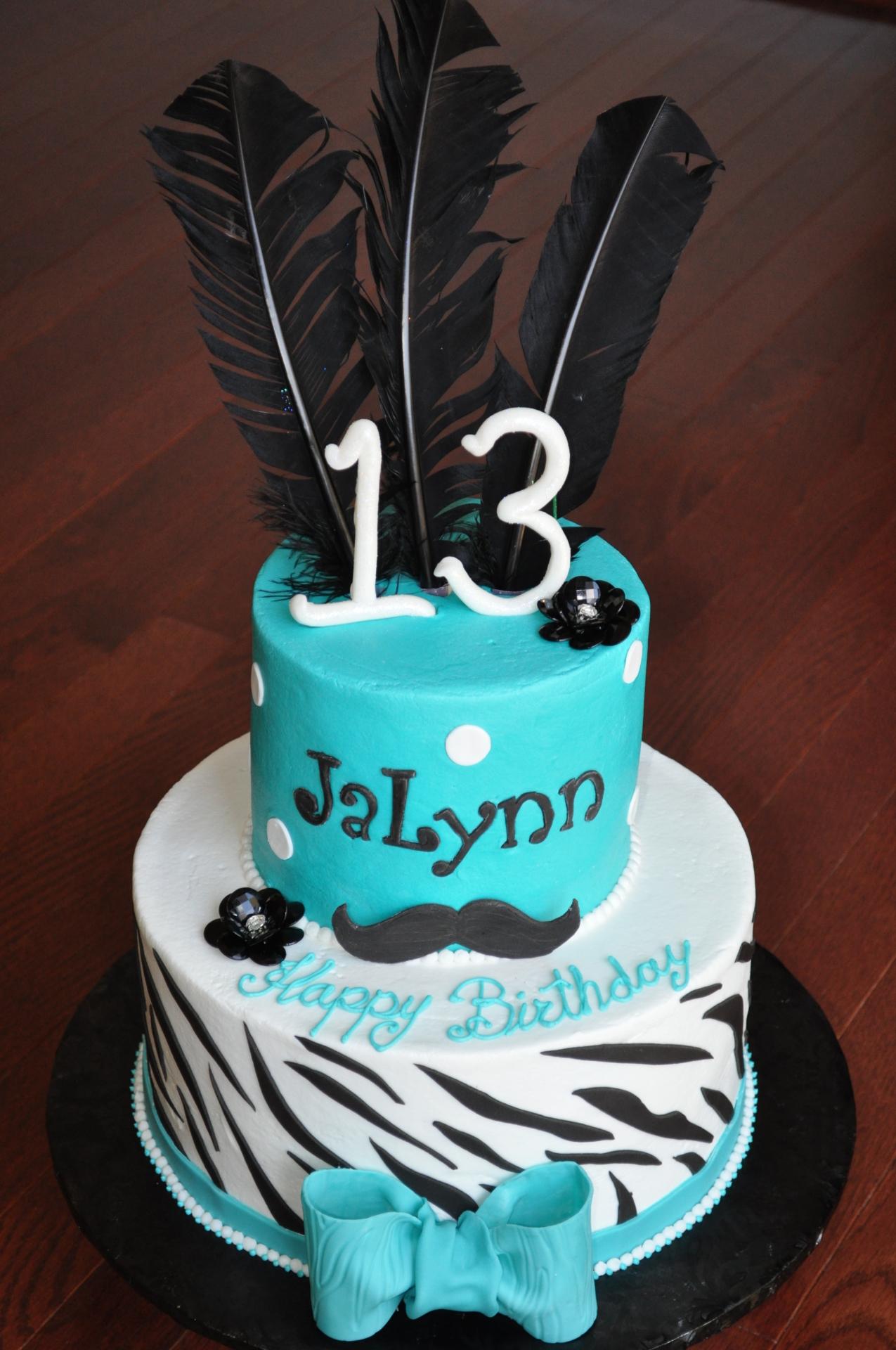 Zebra stripes 13th birthday cake, mustache theme cake