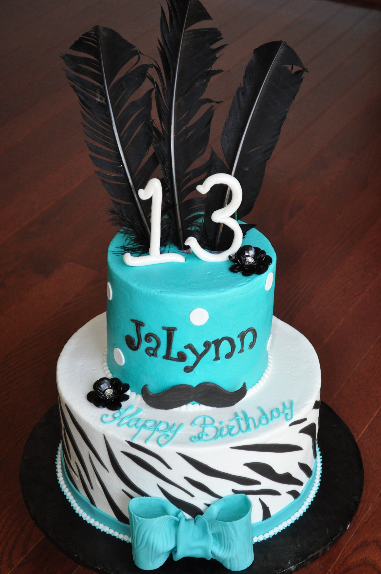 Zebra stripes 13th birthday cake, mustache theme cake