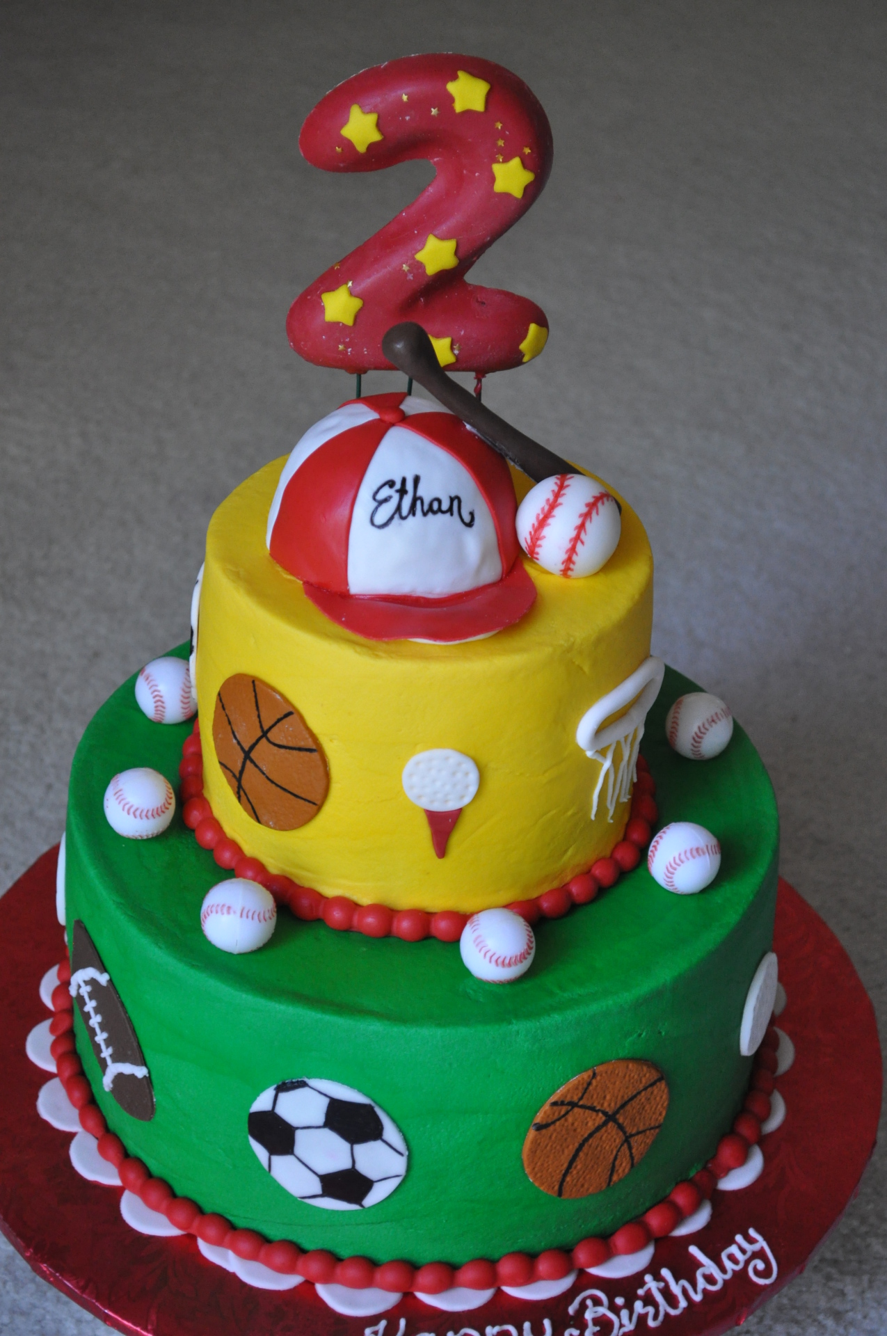 Sports theme birthday cake, 2nd birthday cake