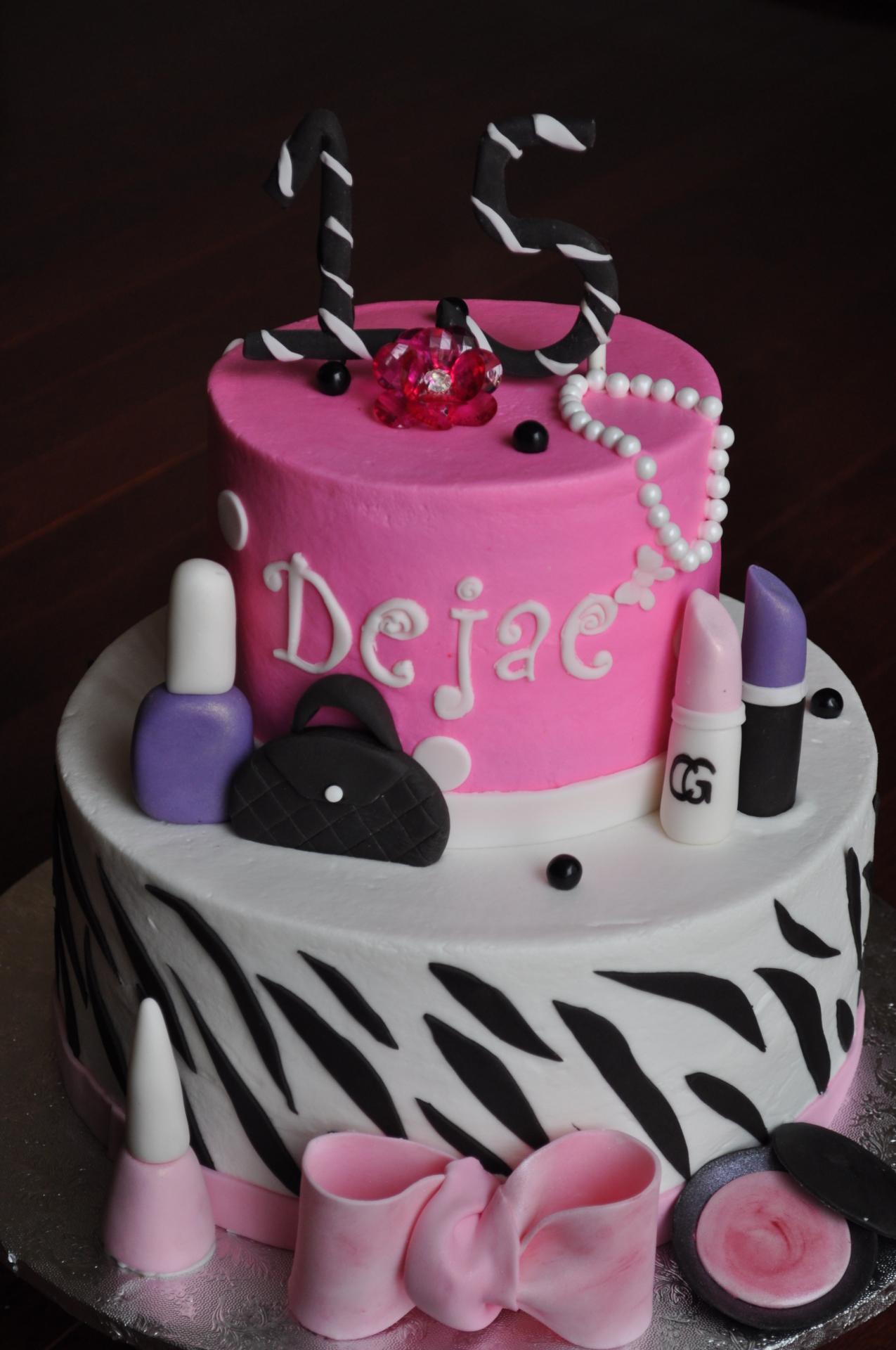 Make up cake, 13th birthday cake