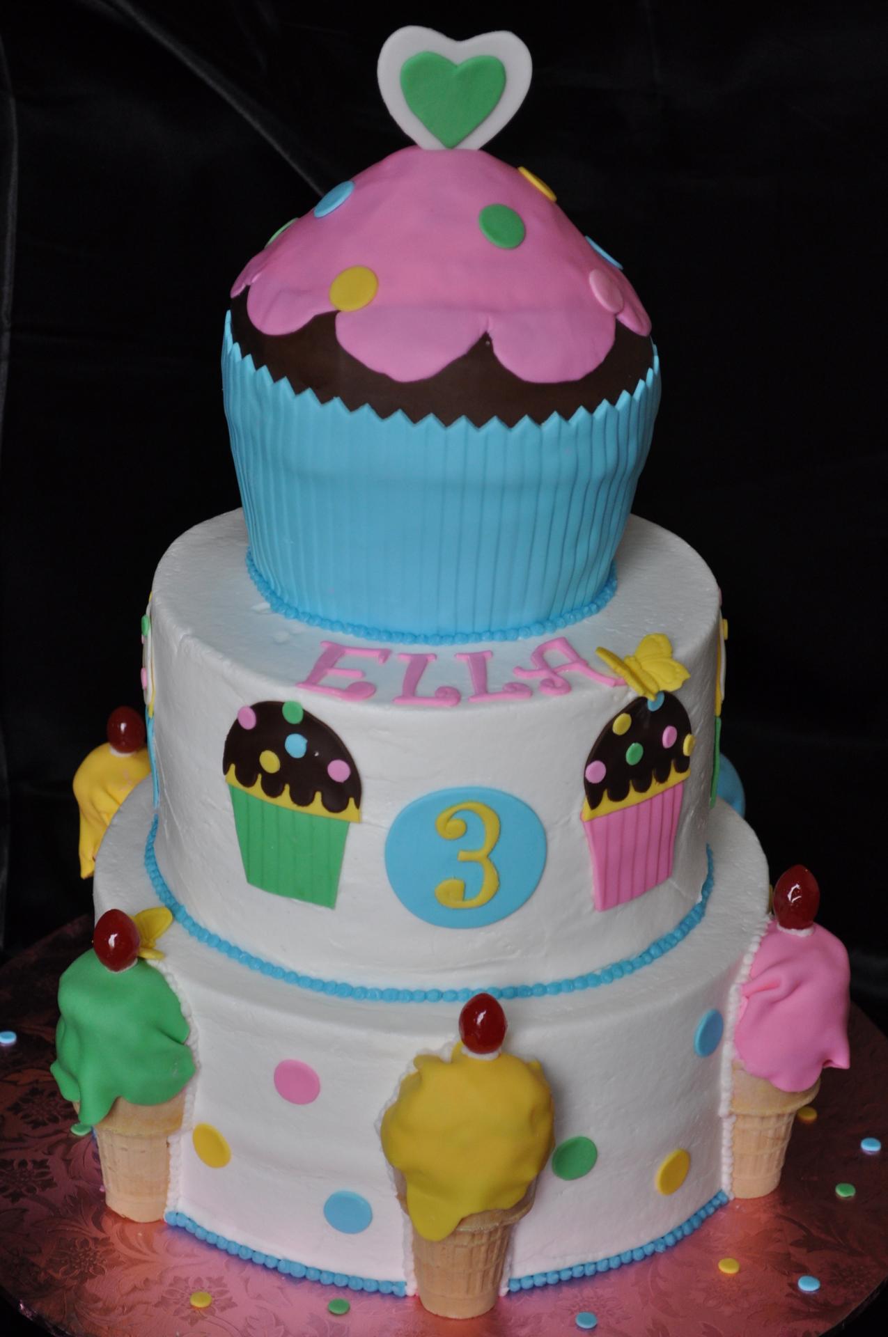 Ice cream theme cake, tiered birthday cake, jumbo cupcake