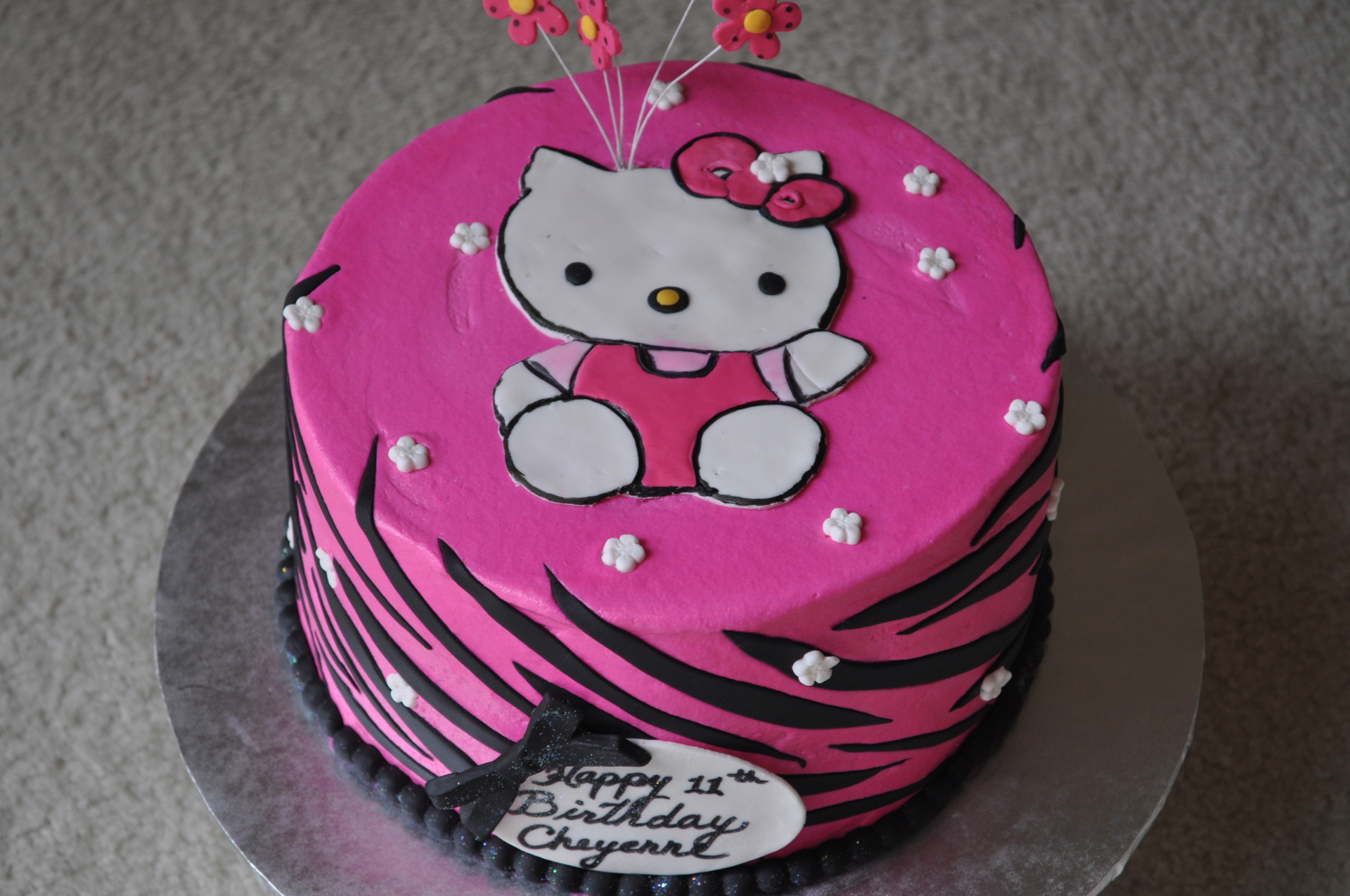 Hello Kitty cake, zebra stripes cake