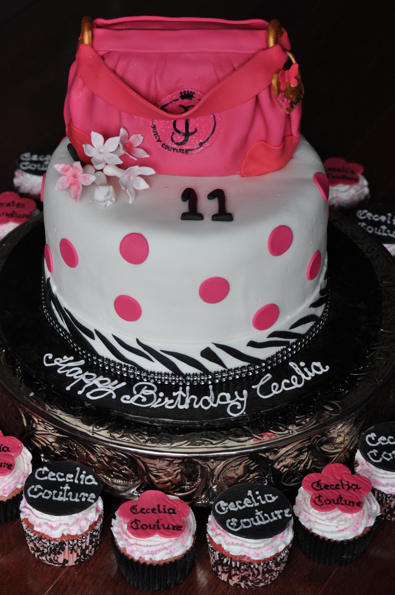 Purse cake, handbag cake, glam cake cupcakes