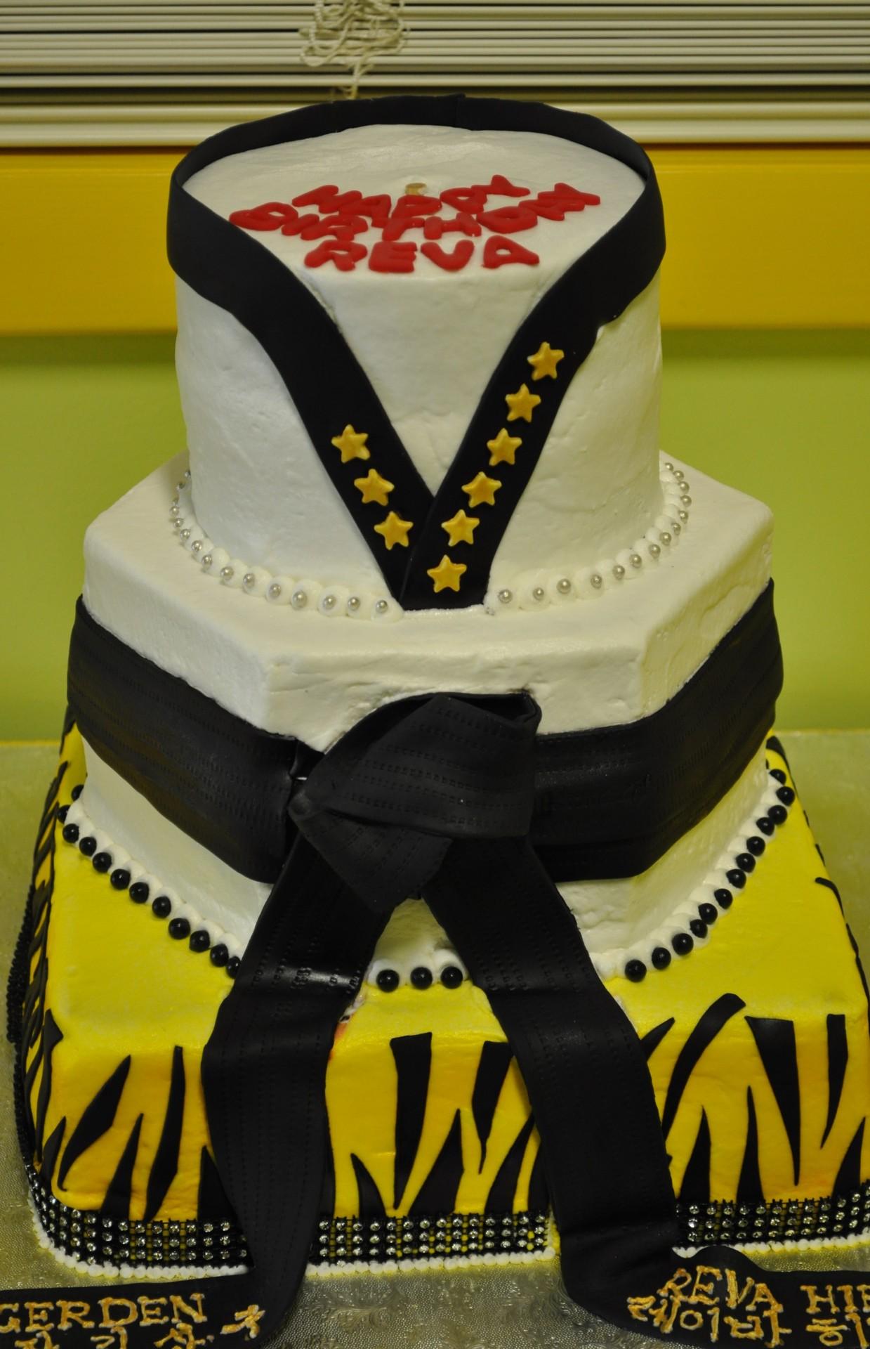 Martial Arts birthday,Tae Kwon Do birthday cake, black belt birthday cake