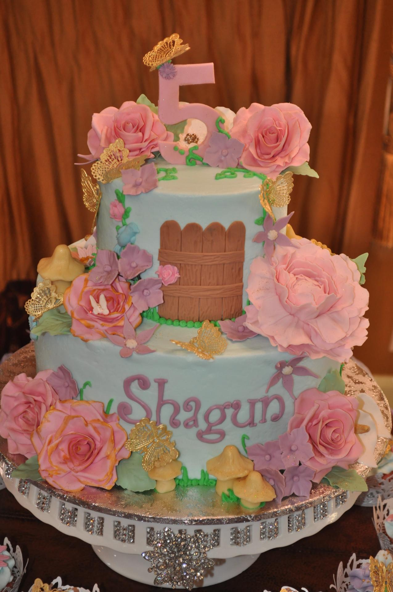 Garden birthday cake,Sugar flowers,Fairy garden