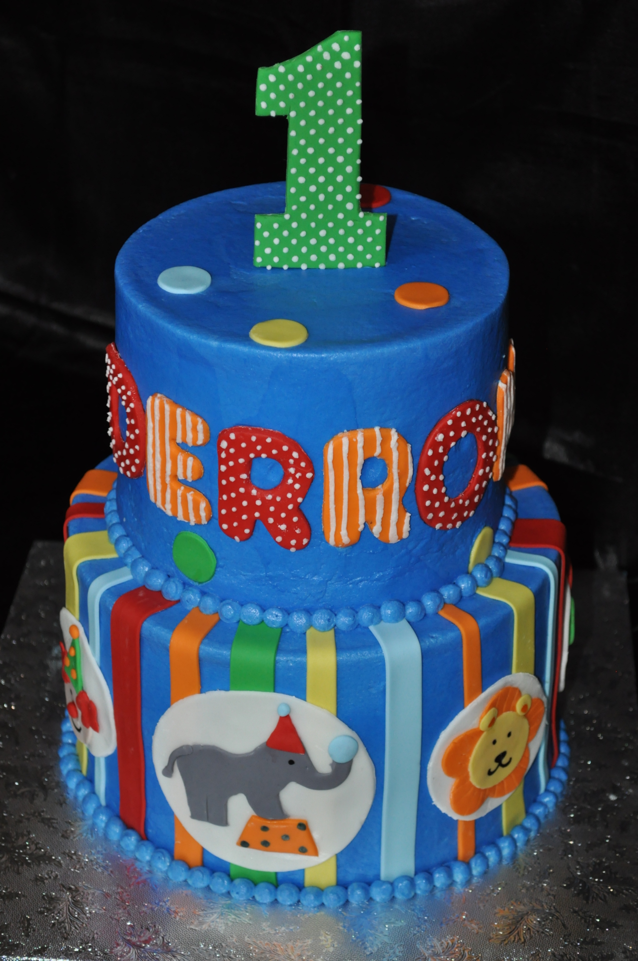 Circus theme 1st birthday cake