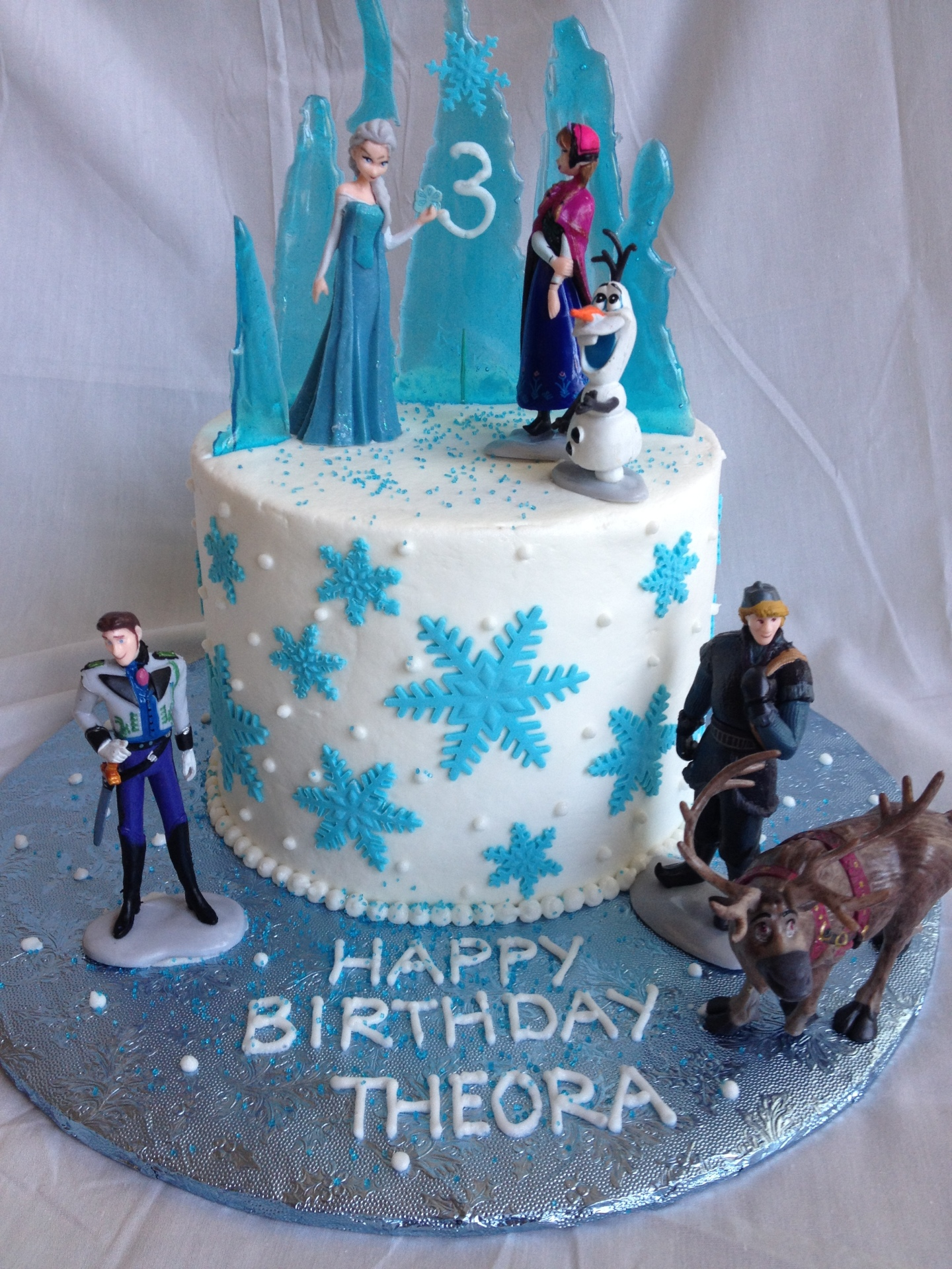 Disney's Frozen cake,snowflake cake