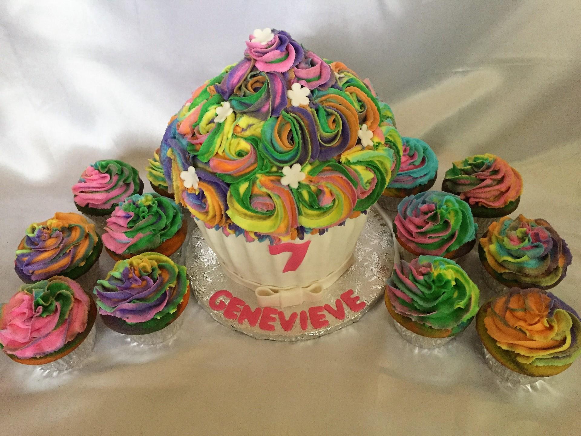 Rainbow jumbo cake cupcakes
