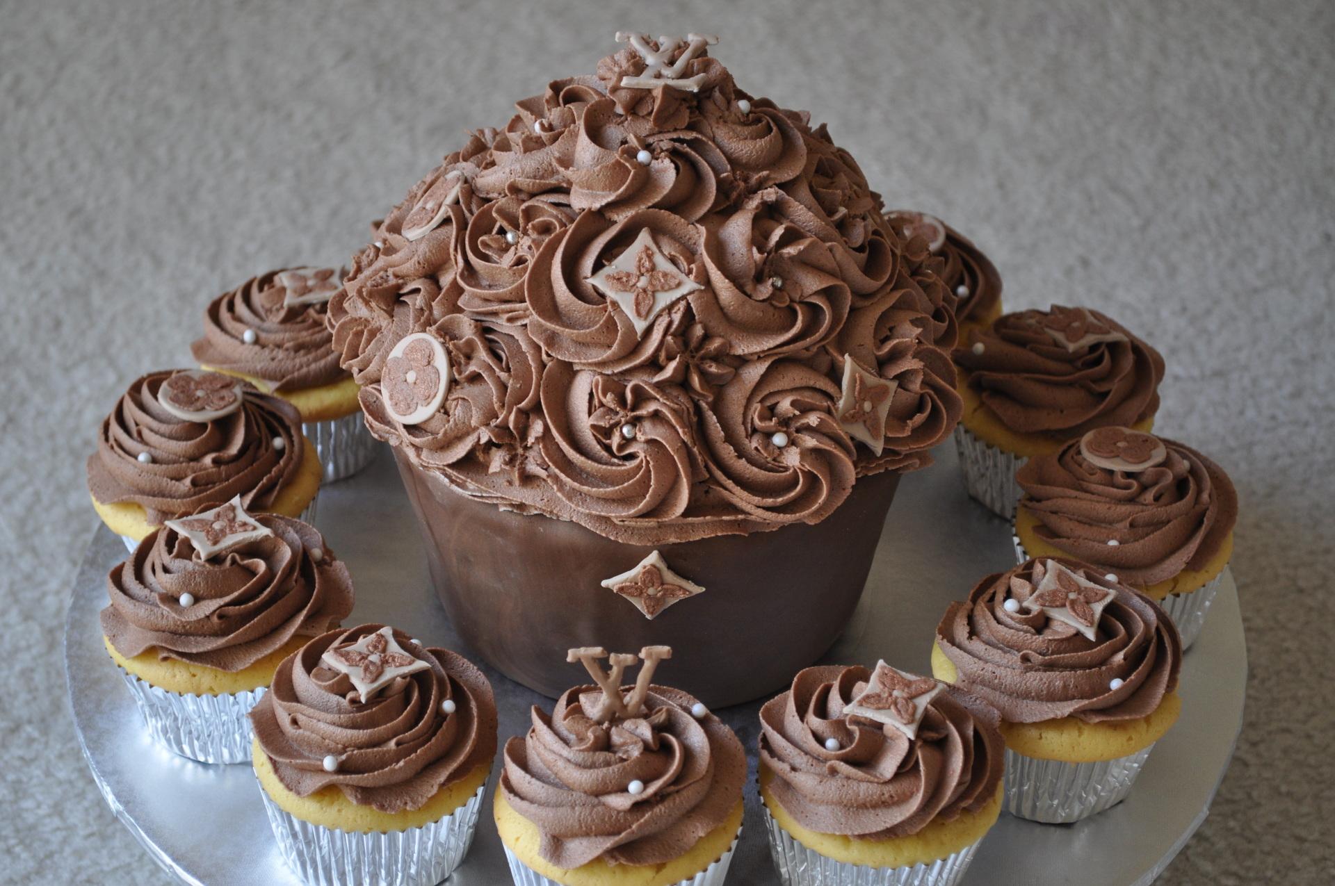 LV jumbo cupcake and cupcakes, bridal shower cake