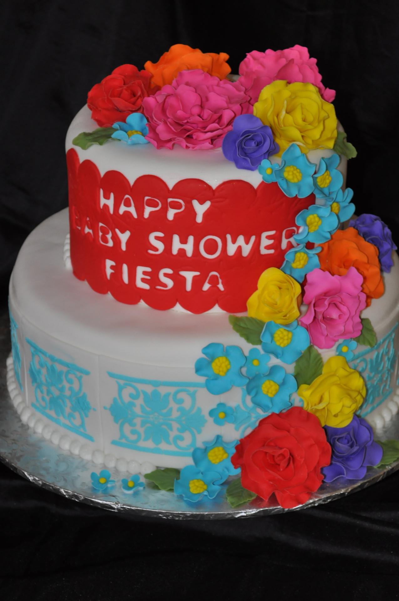 Fiesta baby shower cake,floral cake,tile cake