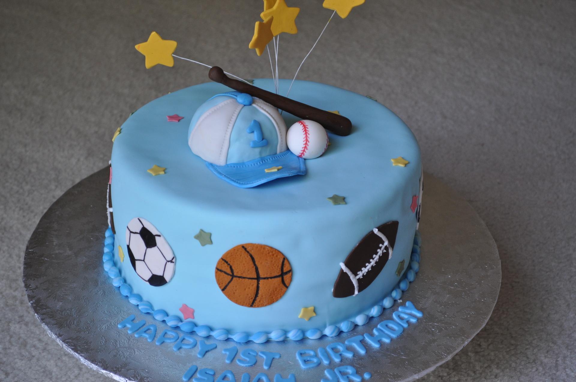 Sports theme birthday cake