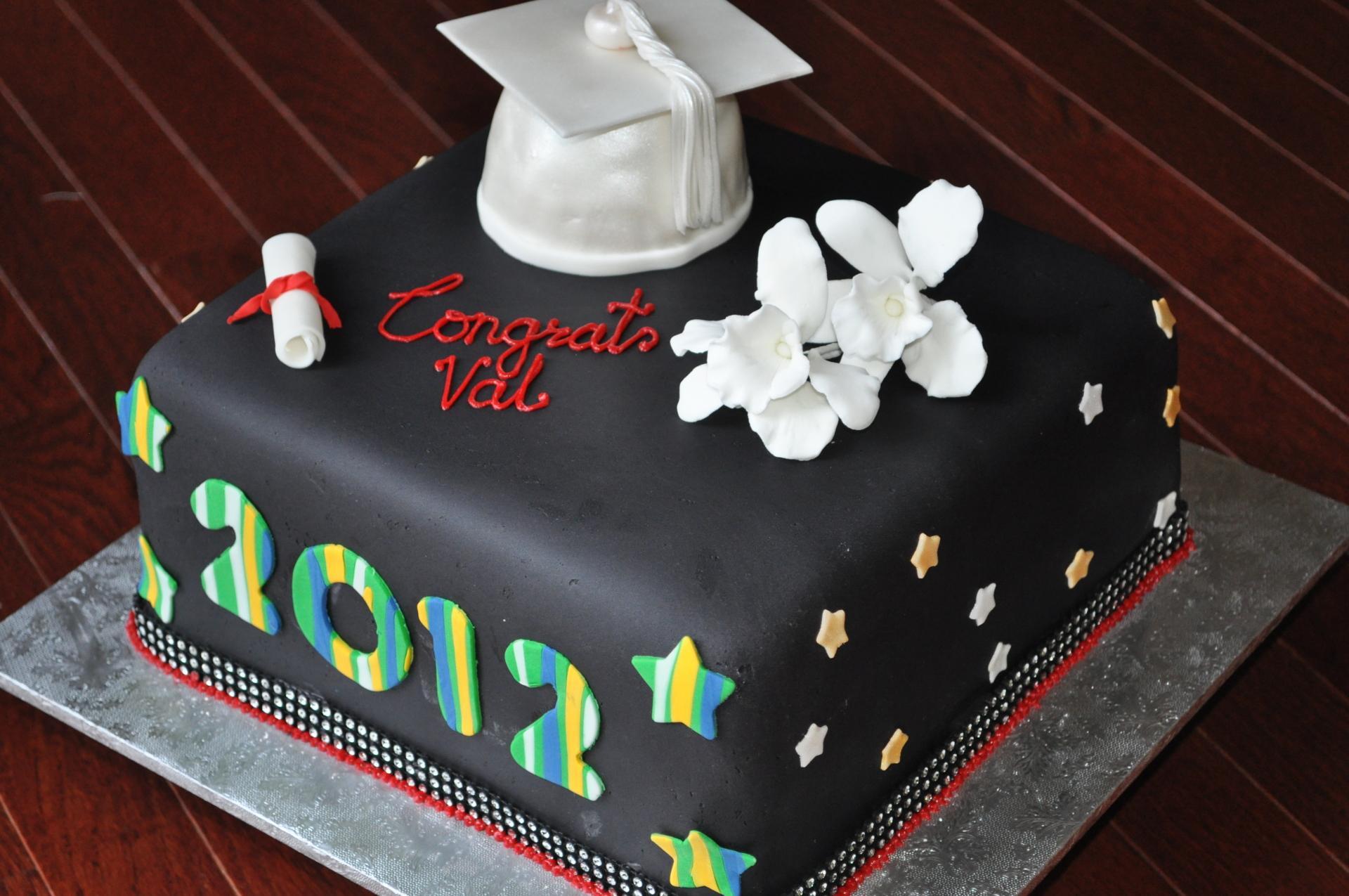 Graduation fondant cake,sugar orchids,grad hat cake