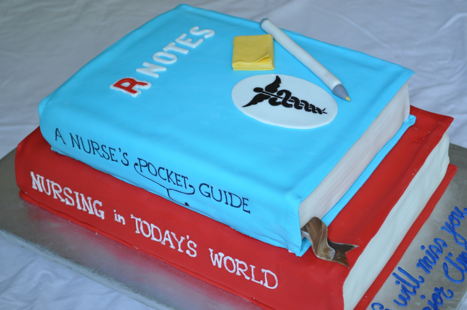 Graduation books cake, medical books cake