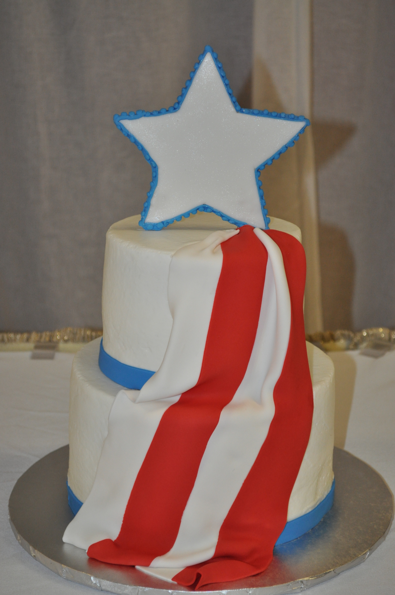 American flag drape cake,groom's cake,patriotic cake