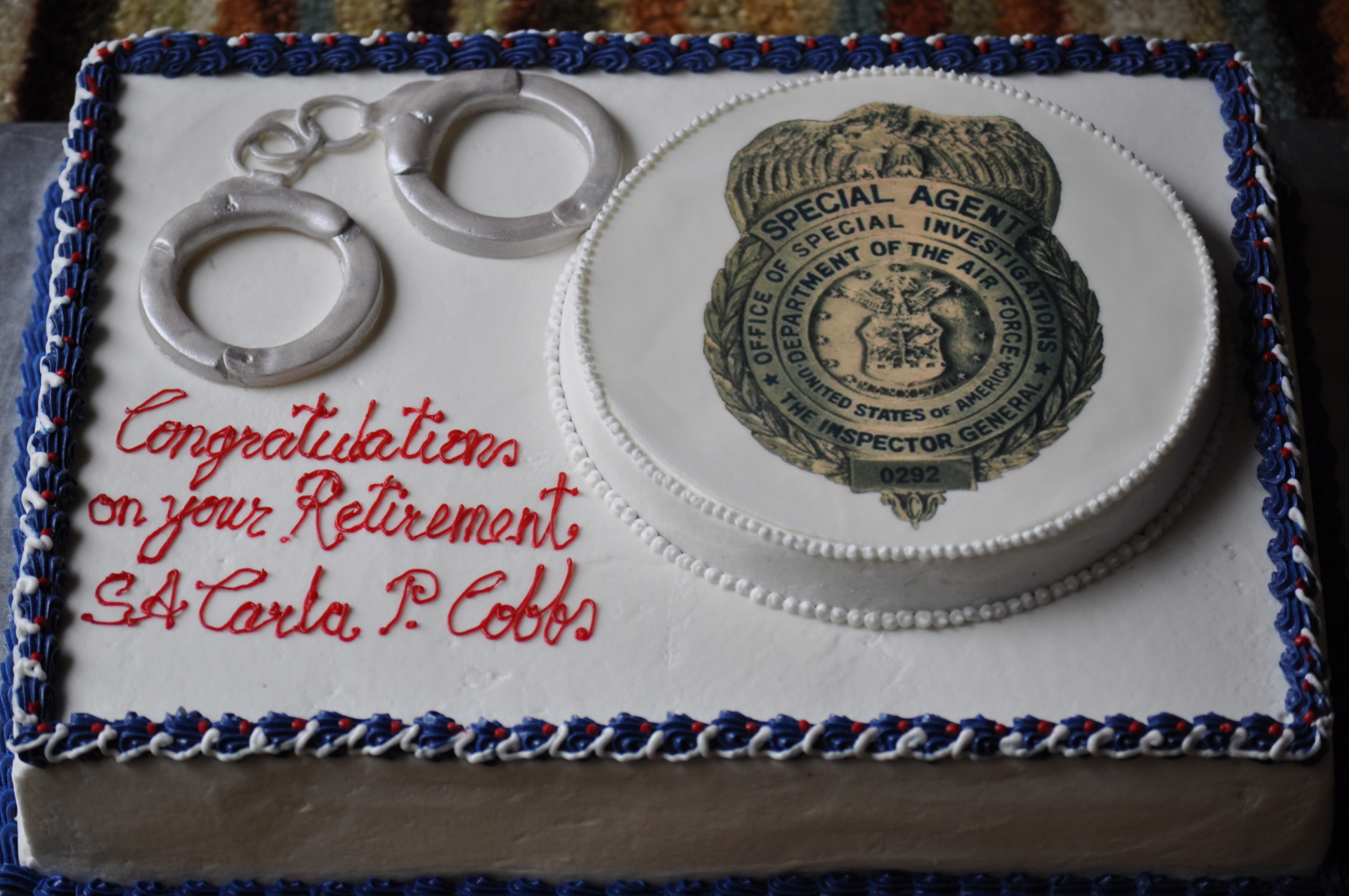 Police department  promotion cake
