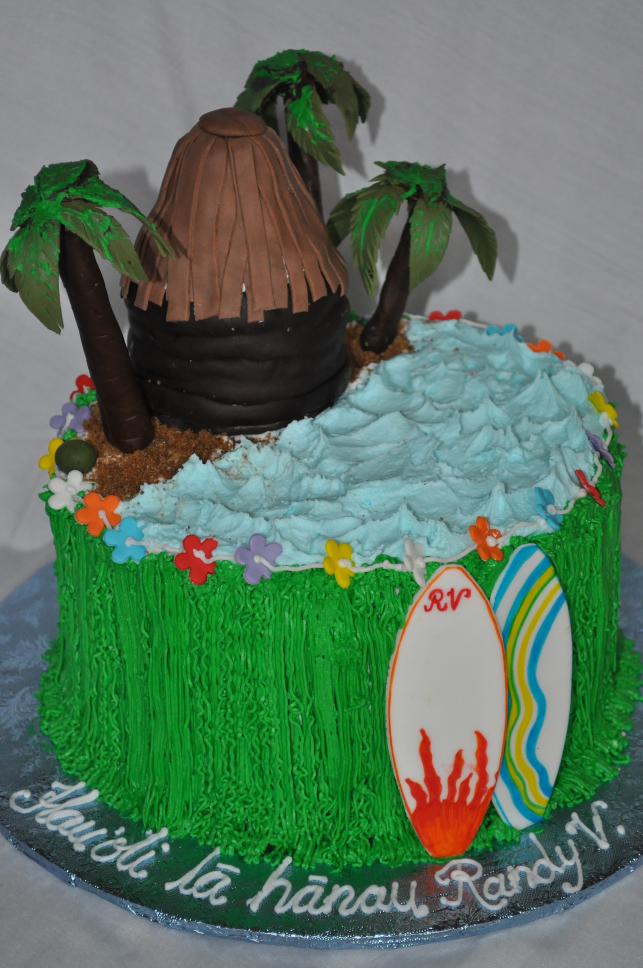 Beach theme birthday cake