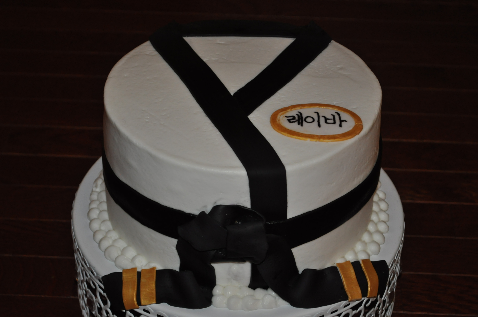 Martial arts cake,black belt cake