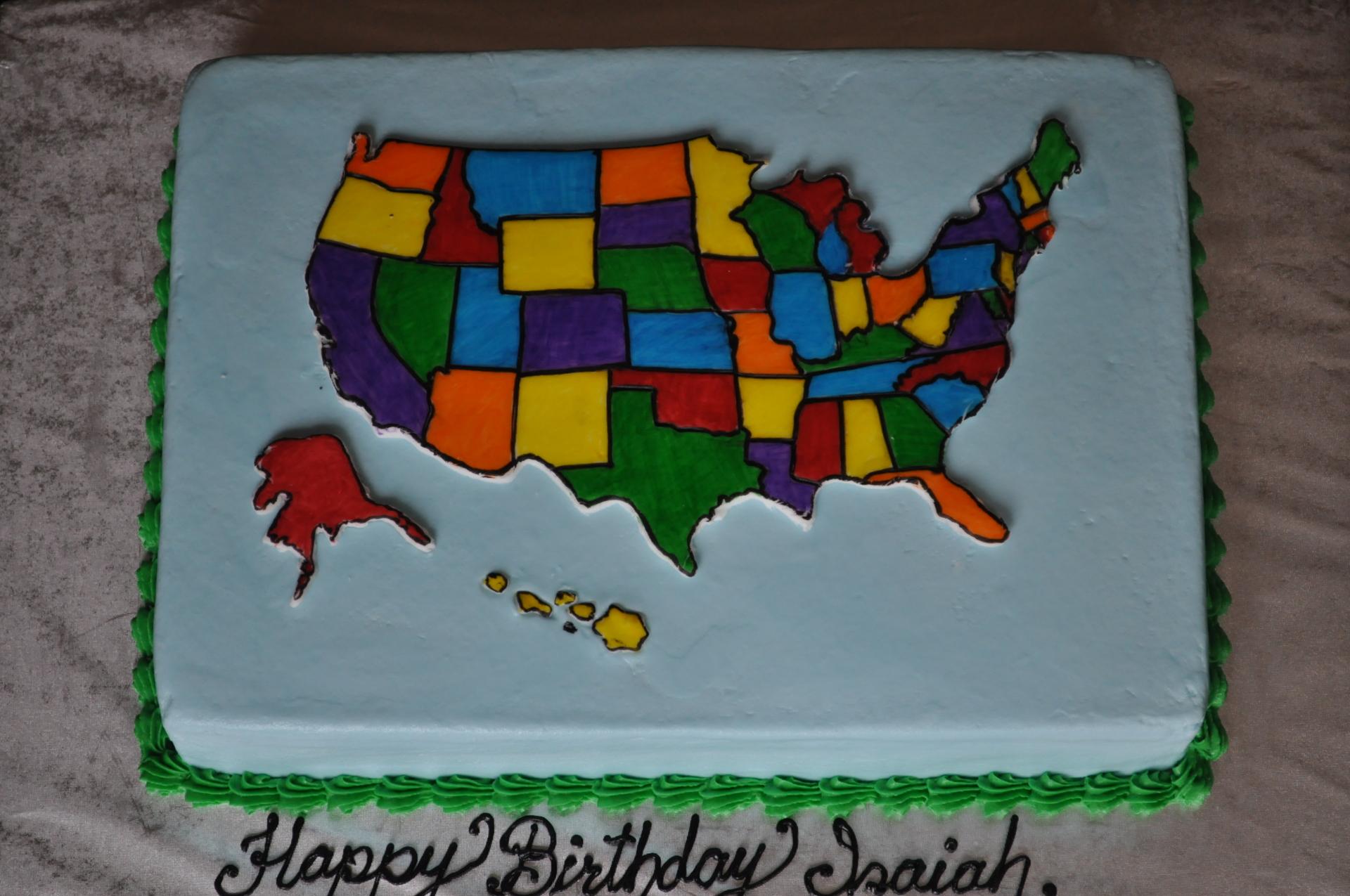 USA states map cake