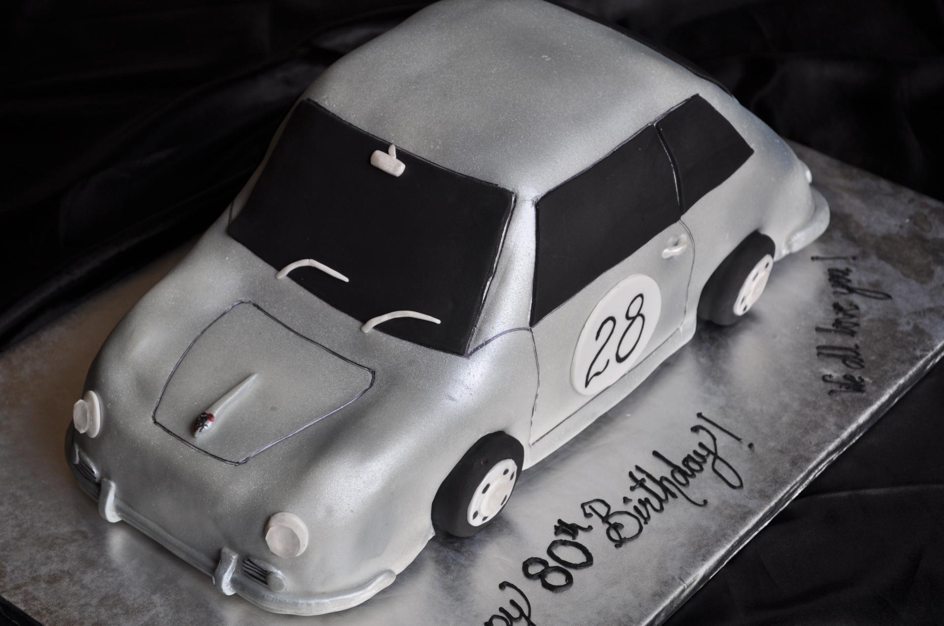 Silver car cake
