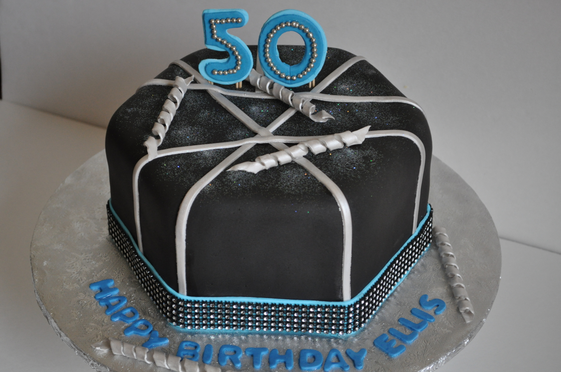 50th birthday cake, hexagon cake