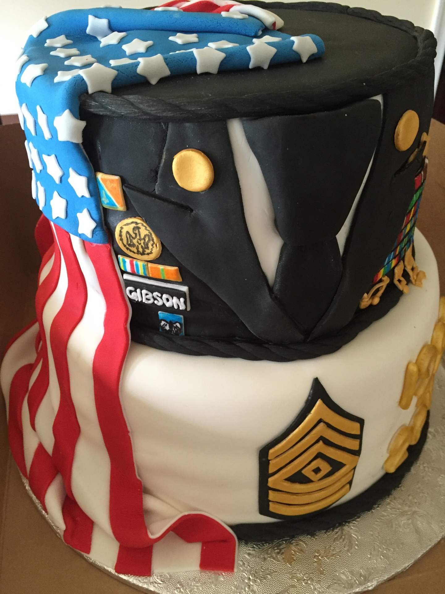 American flag promotion cake, retirement cake,military uniform cake