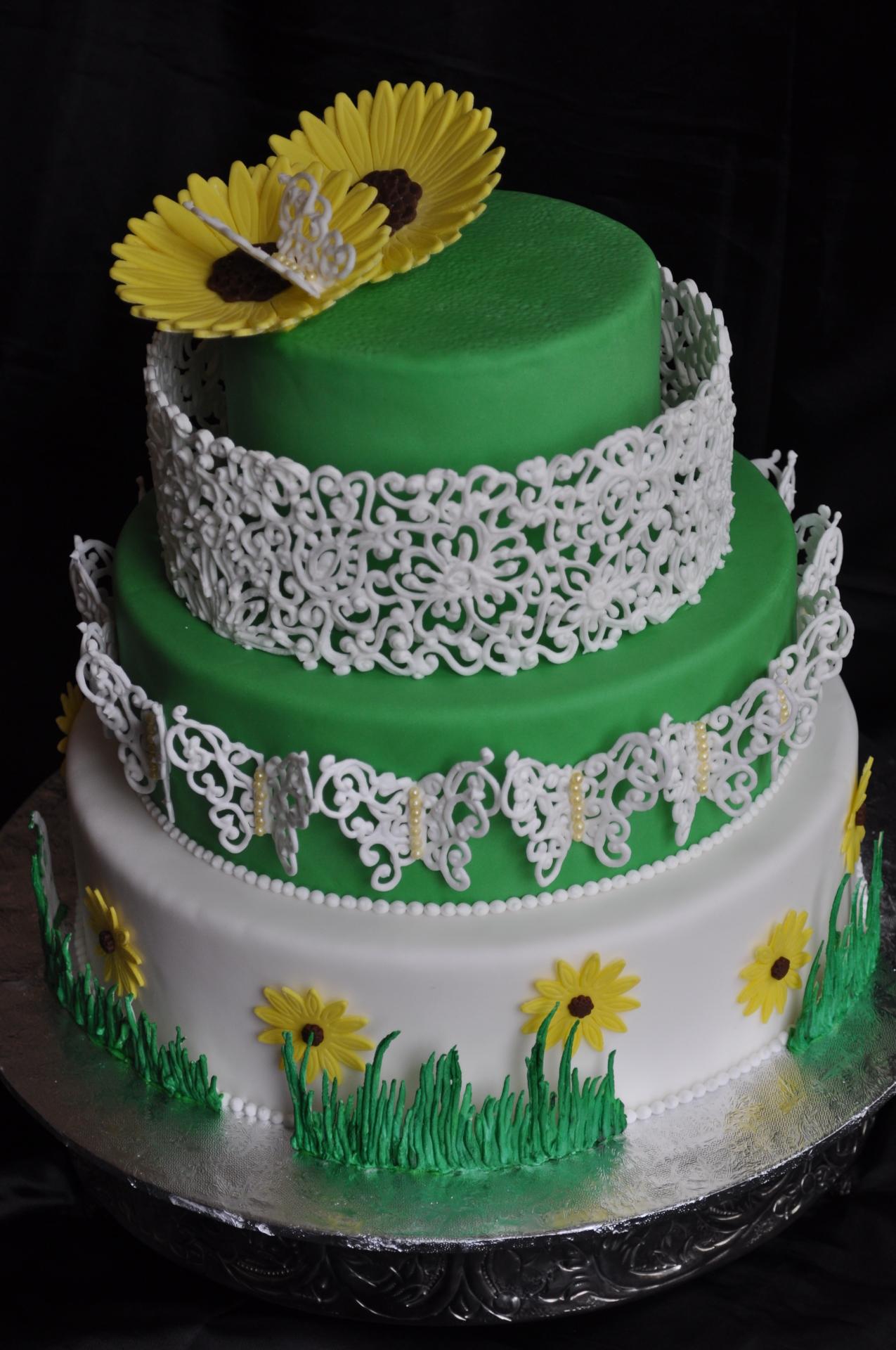 Royal icing cage cake,spring cake