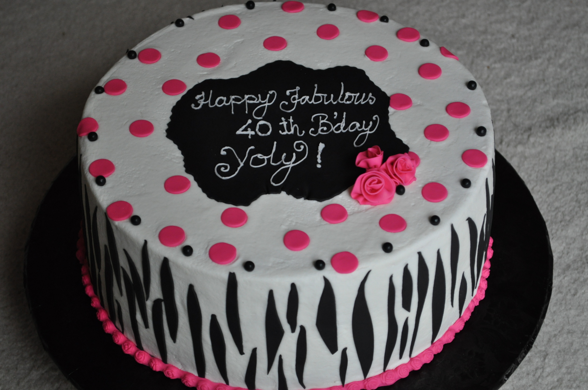 Black zebra stripes birthday cake